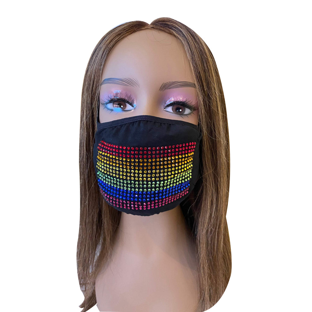 LGBTQ Gay Pride Flag Bling Face Mask