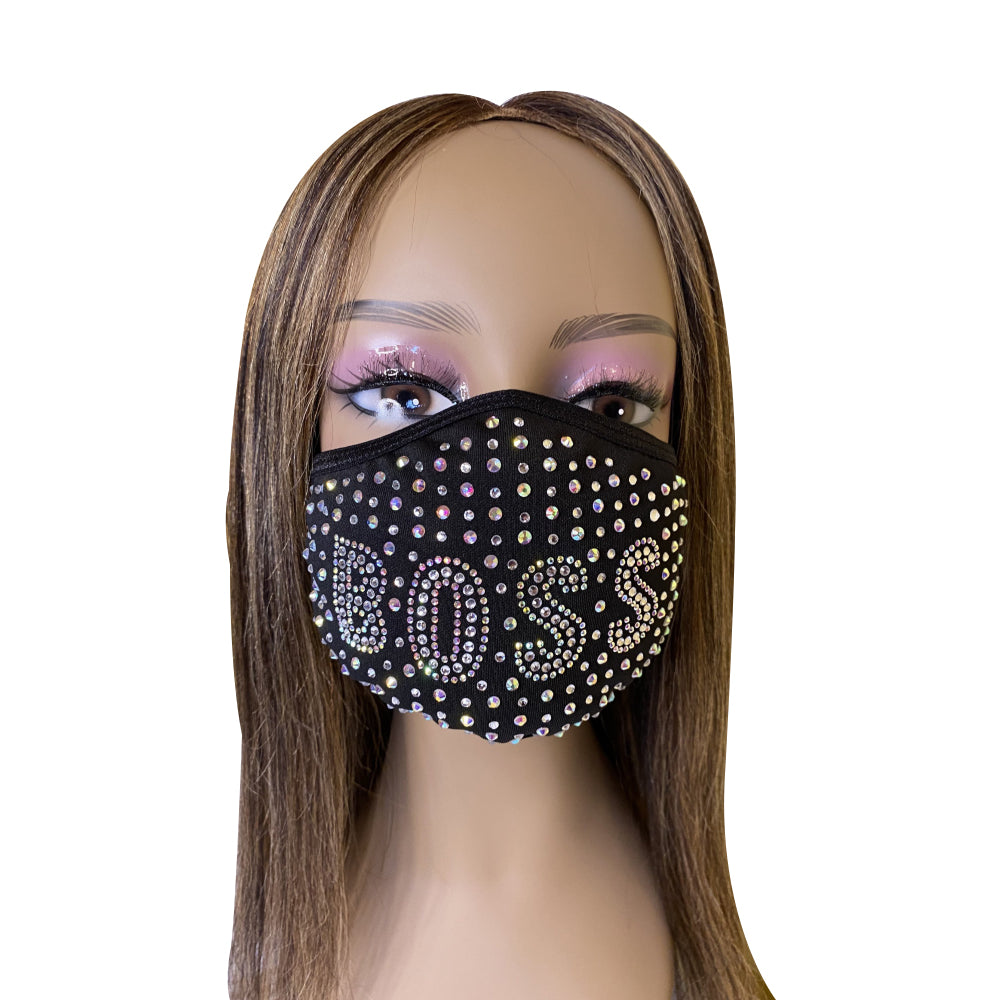 Boss Bling Rhinestone Face Mask
