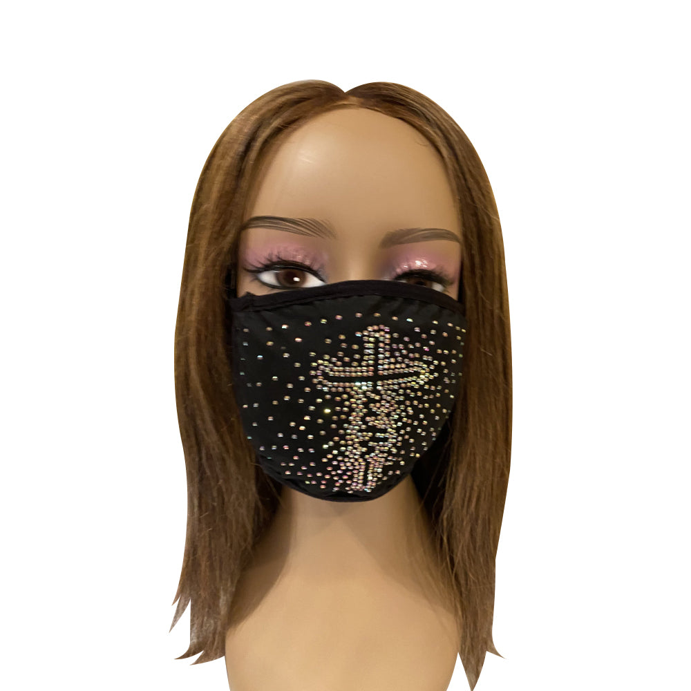 FAITH Cross AB Color Crystals Face Mask