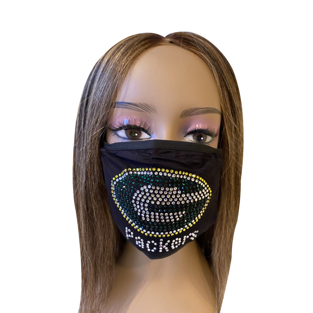 Green Bay Packers Bling Face Mask Front Logo