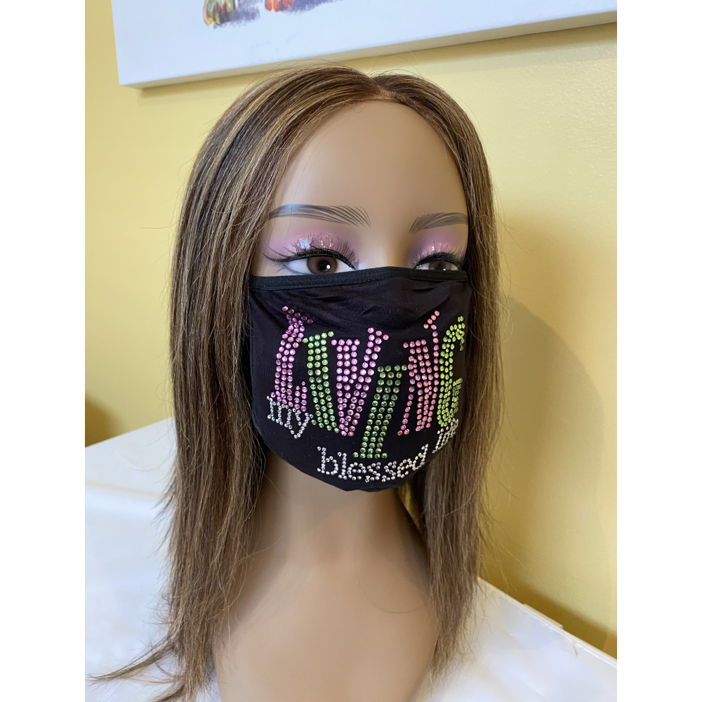 Living My Blessed Life Rhinestone Bling Face Mask Pink  | Simply For Us