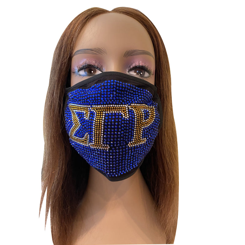 Sigma Gamma Rho Full Rhinestone Bling Face Mask Blue