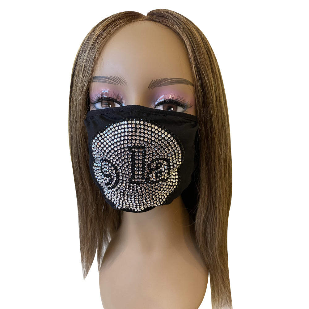 Comma La, Kamala Harris Bling Face Mask Clear