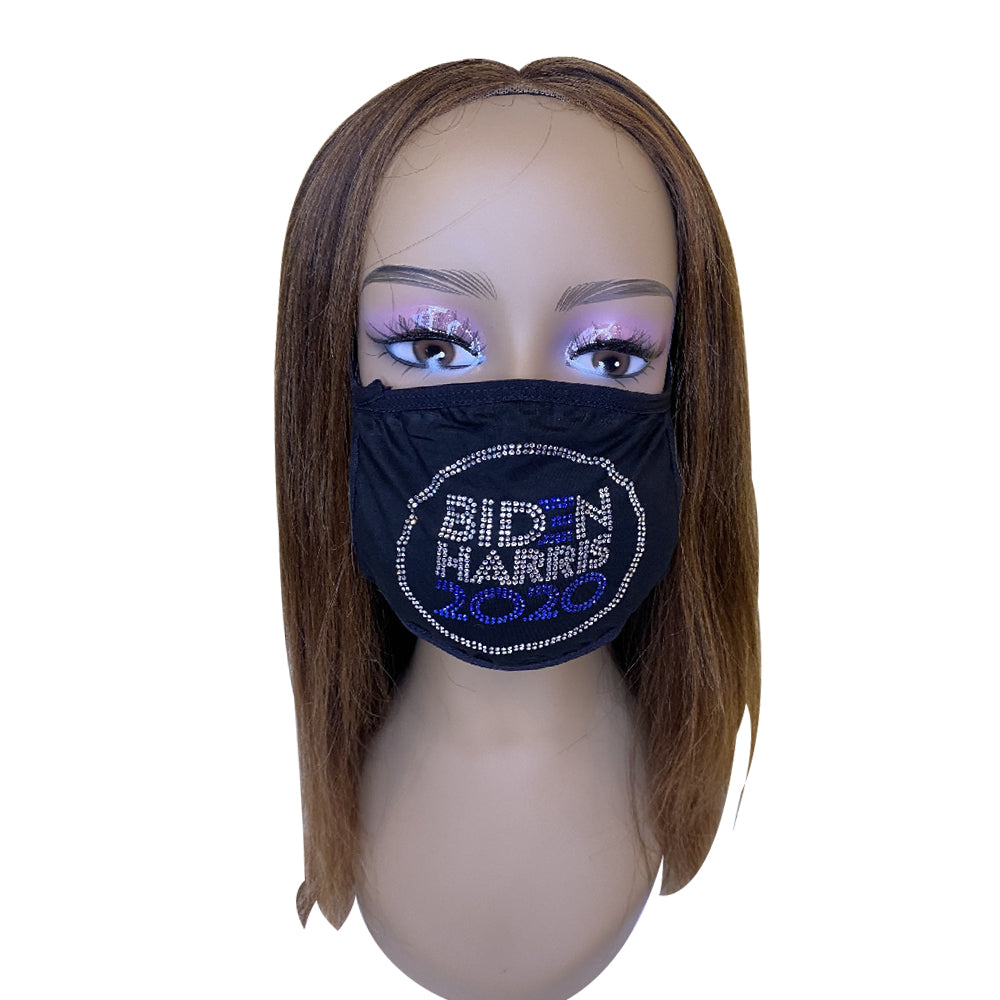 Biden Harris 2020 Bling Face Mask with Rhinestones Blue