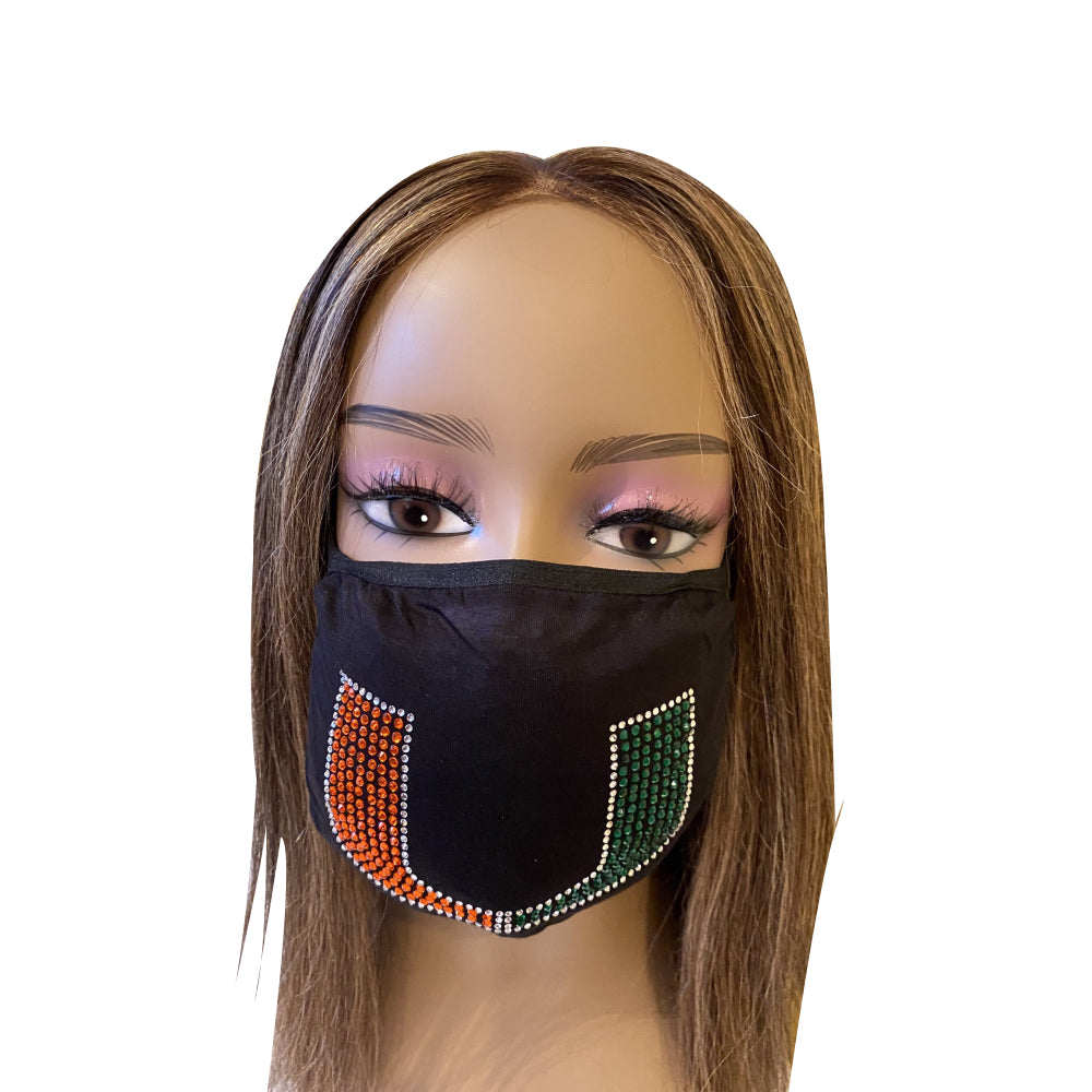 University of Miami Hurricanes Bling Face Mask with Filter Pocket and Filter