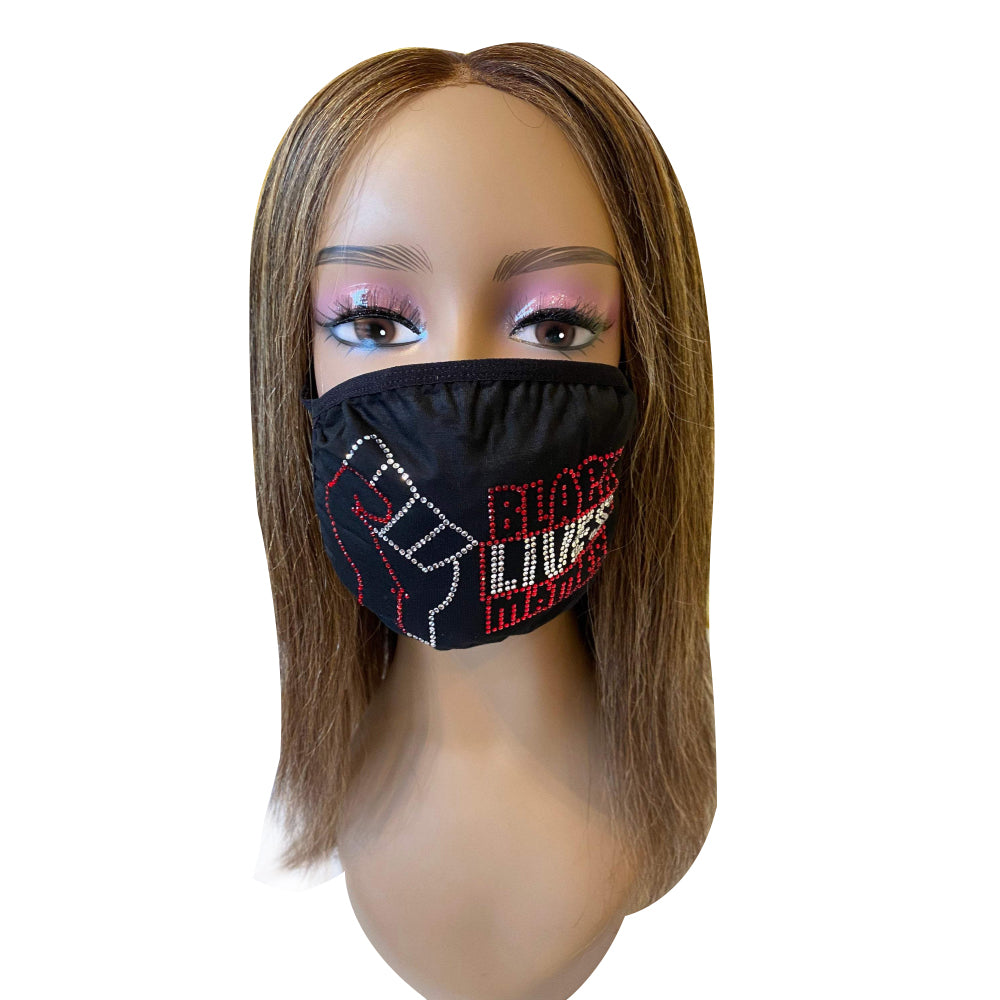 Black Lives Matter Red Rhinestone Bling Face Mask
