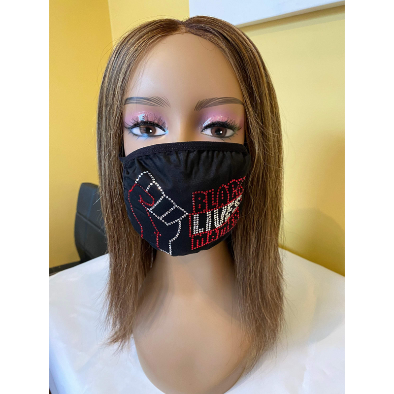 Black Lives Matter Red Rhinestone Bling Face Mask | Simply For Us