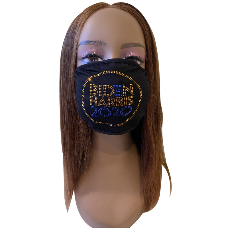 Vote Biden Harris 2020 Rhinestone Bling Face Mask Blue Gold