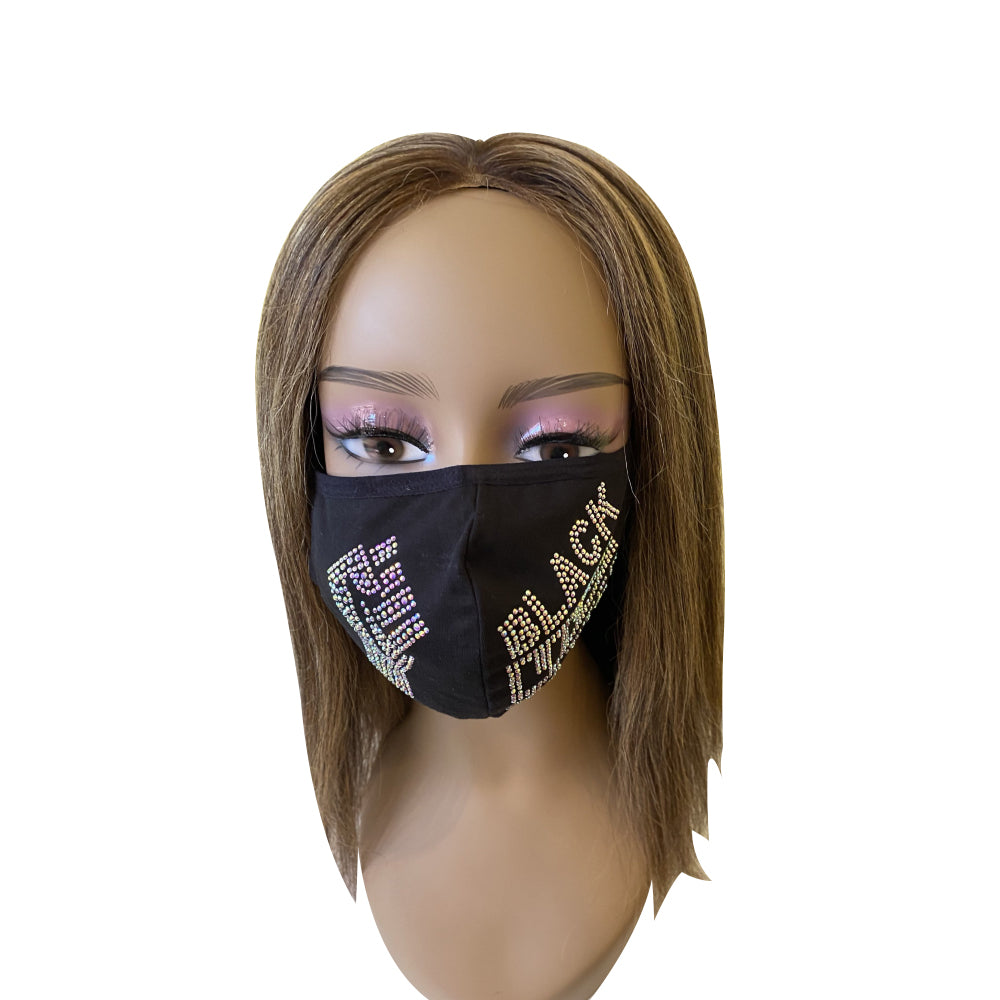 Black Lives Matter Mask with Fist Crystal Clear