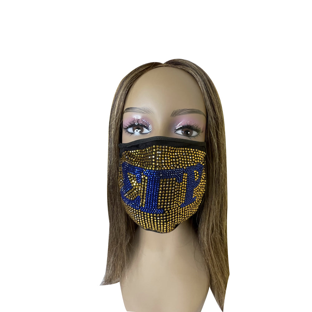 Sigma Gamma Rho Full Bling Face Mask Gold