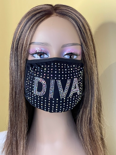 Diva Bling Rhinestone Face Mask | Simply For Us