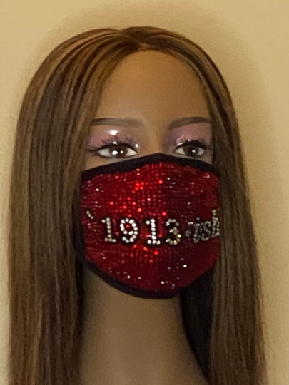Delta Sigma Theta 1913-ish Full Rhinestone Bling Face Mask Red