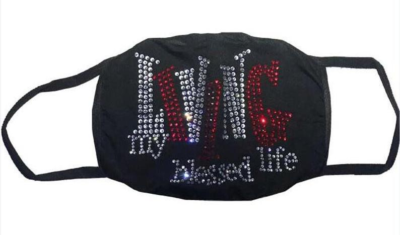 Living My Blessed Life Rhinestone Bling Face Mask Red