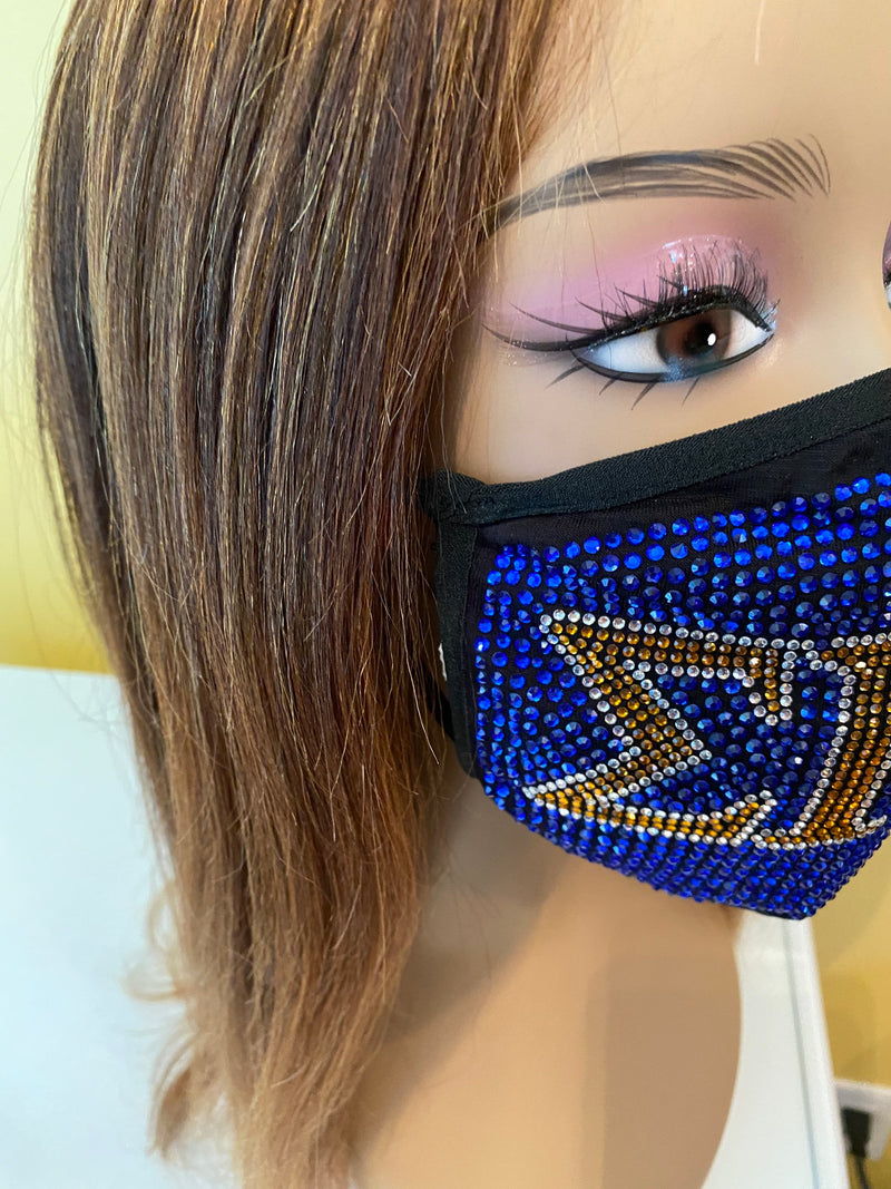 Sigma Gamma Rho Full Rhinestone Bling Face Mask Blue | Simply For Us