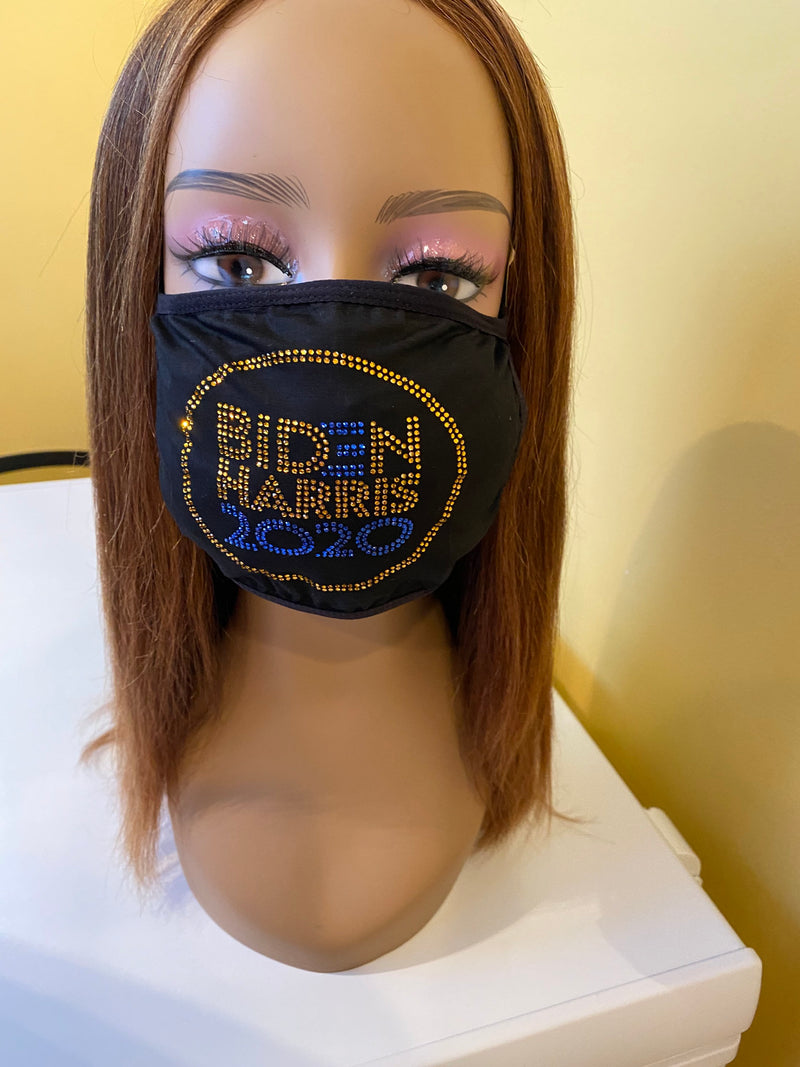 Vote Biden Harris 2020 Rhinestone Bling Face Mask Blue Gold | Simply For Us