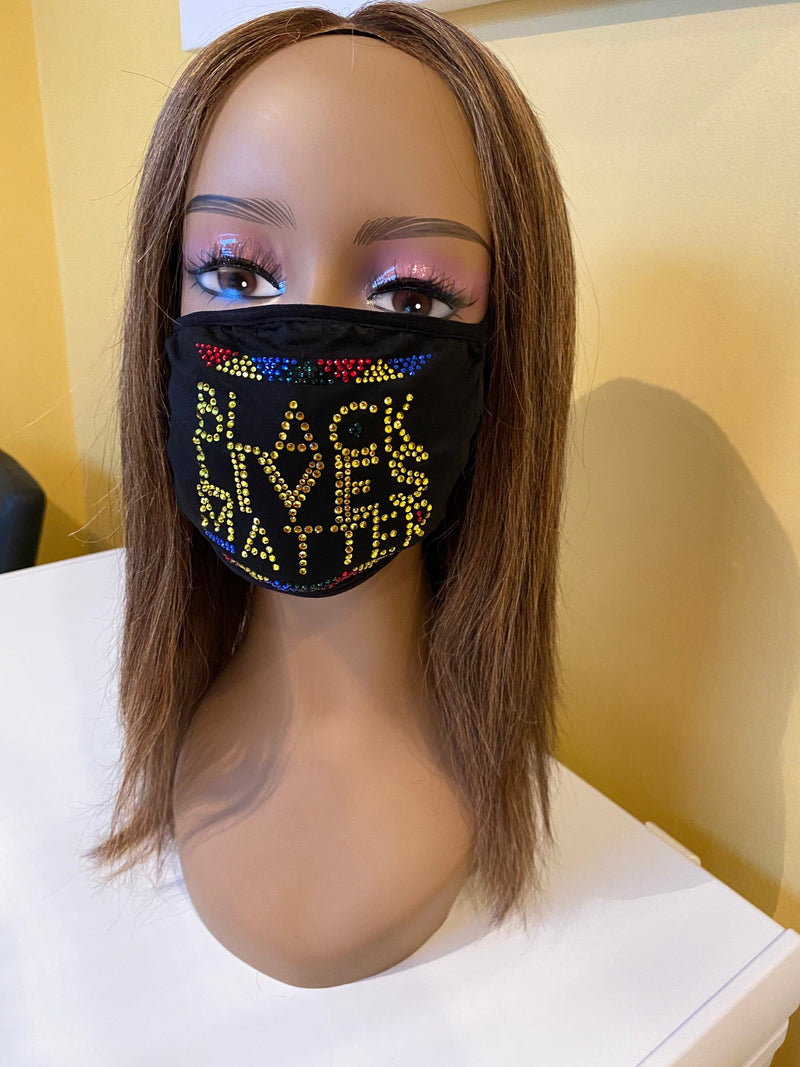 Black Lives Matter Bling Multicolor Face Mask | Simply For Us