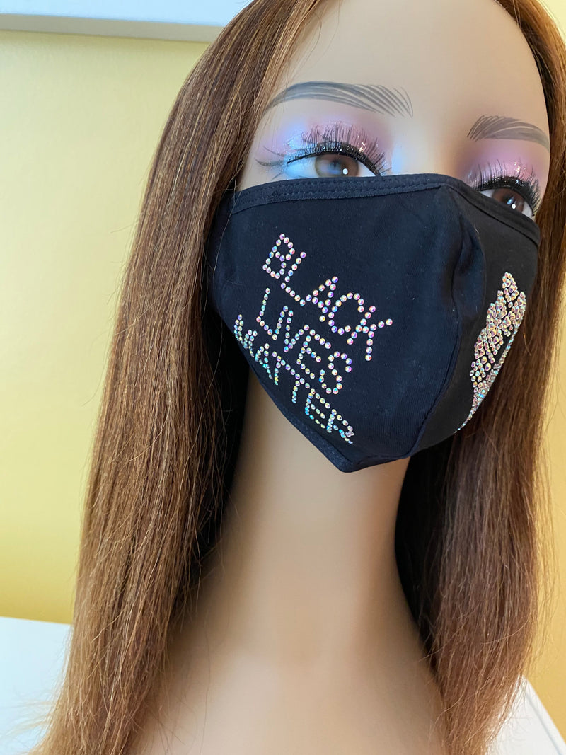 Black Lives Matter Mask  AB Color Adjustable Ear Loops | Simply For Us