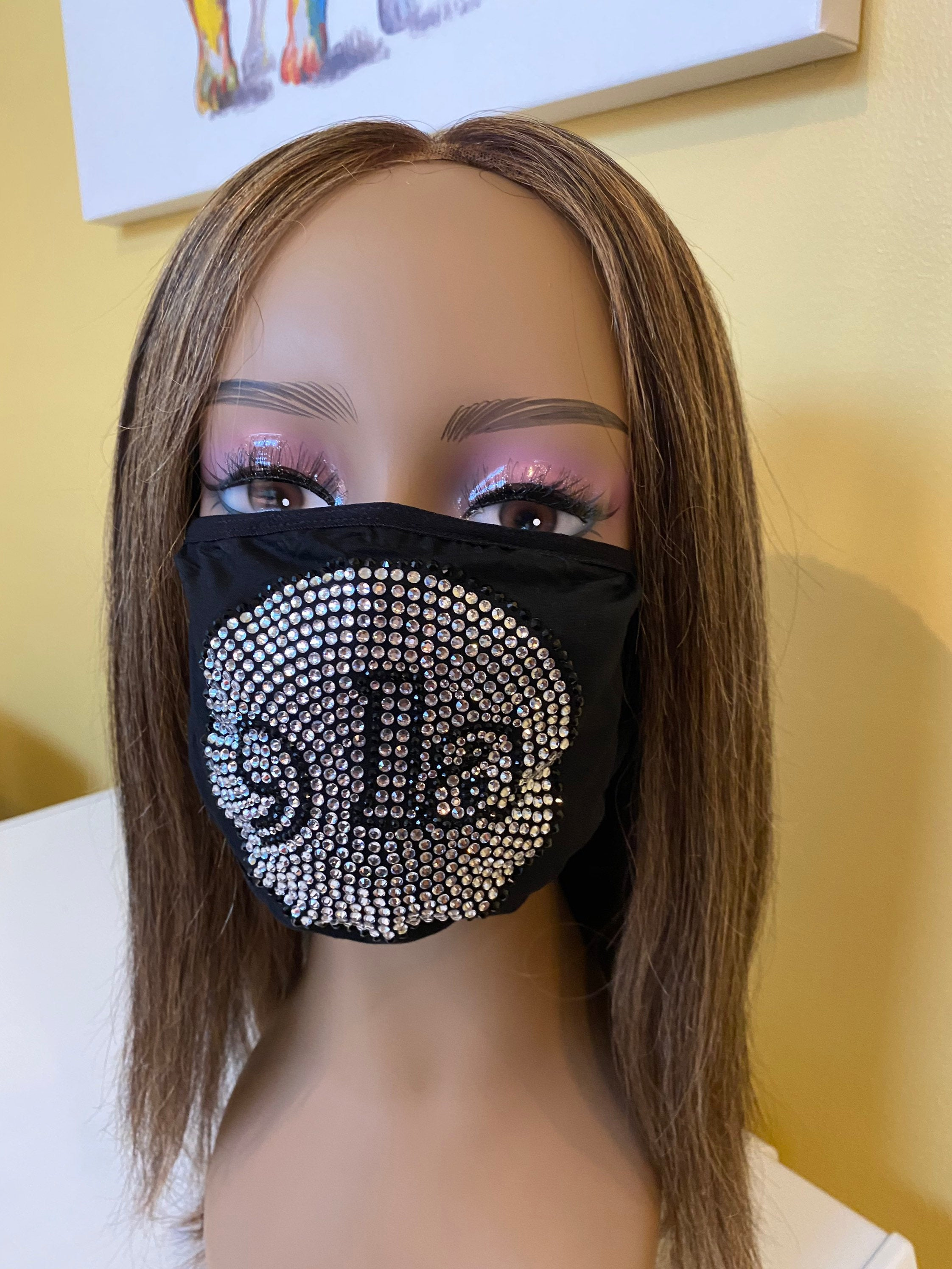 Comma La, Kamala Harris Bling Face Mask Clear | Simply For Us