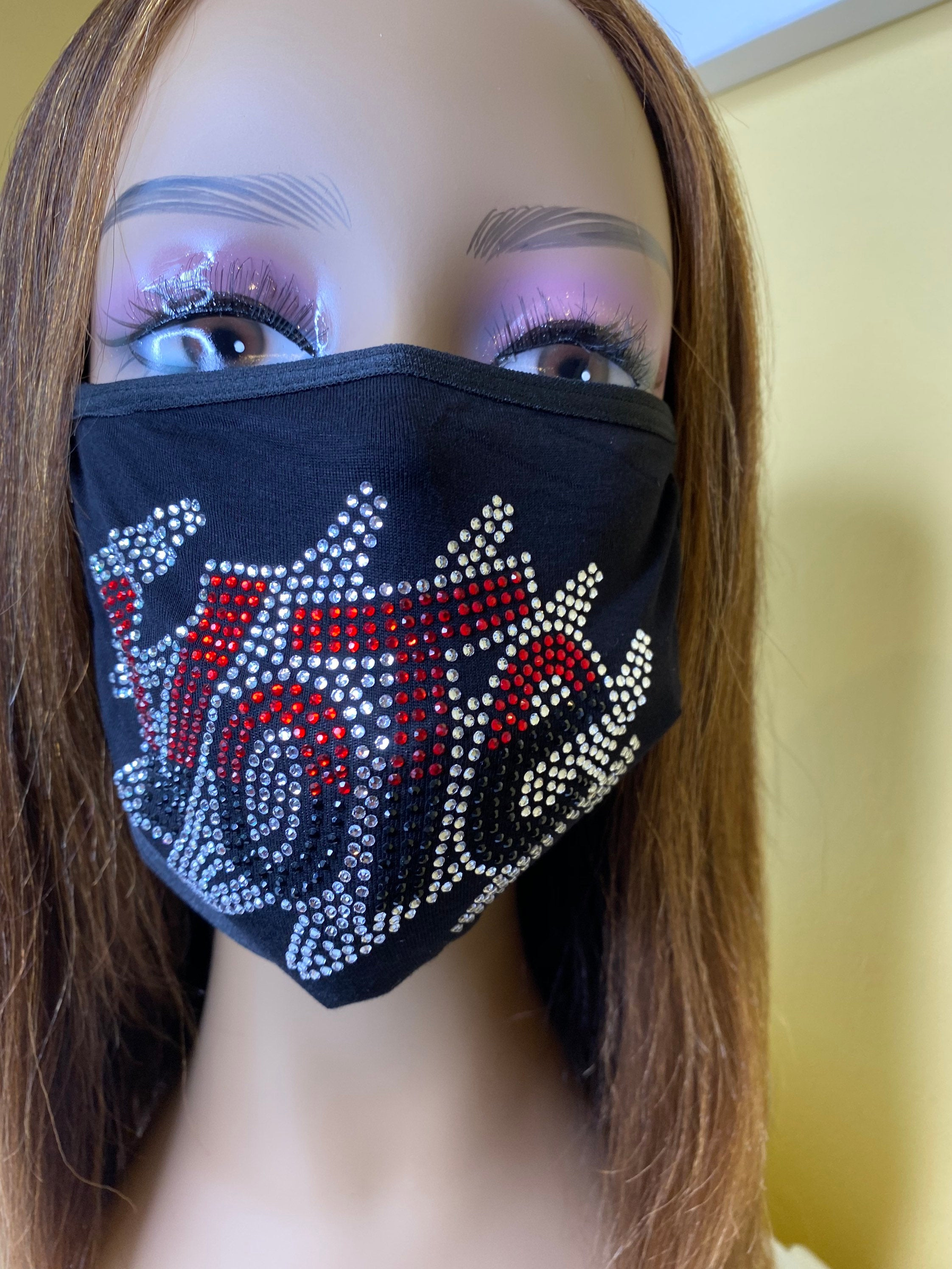 VOTE Rhinestone Bling Face Mask With Filter Pocket Red Black | Simply For Us
