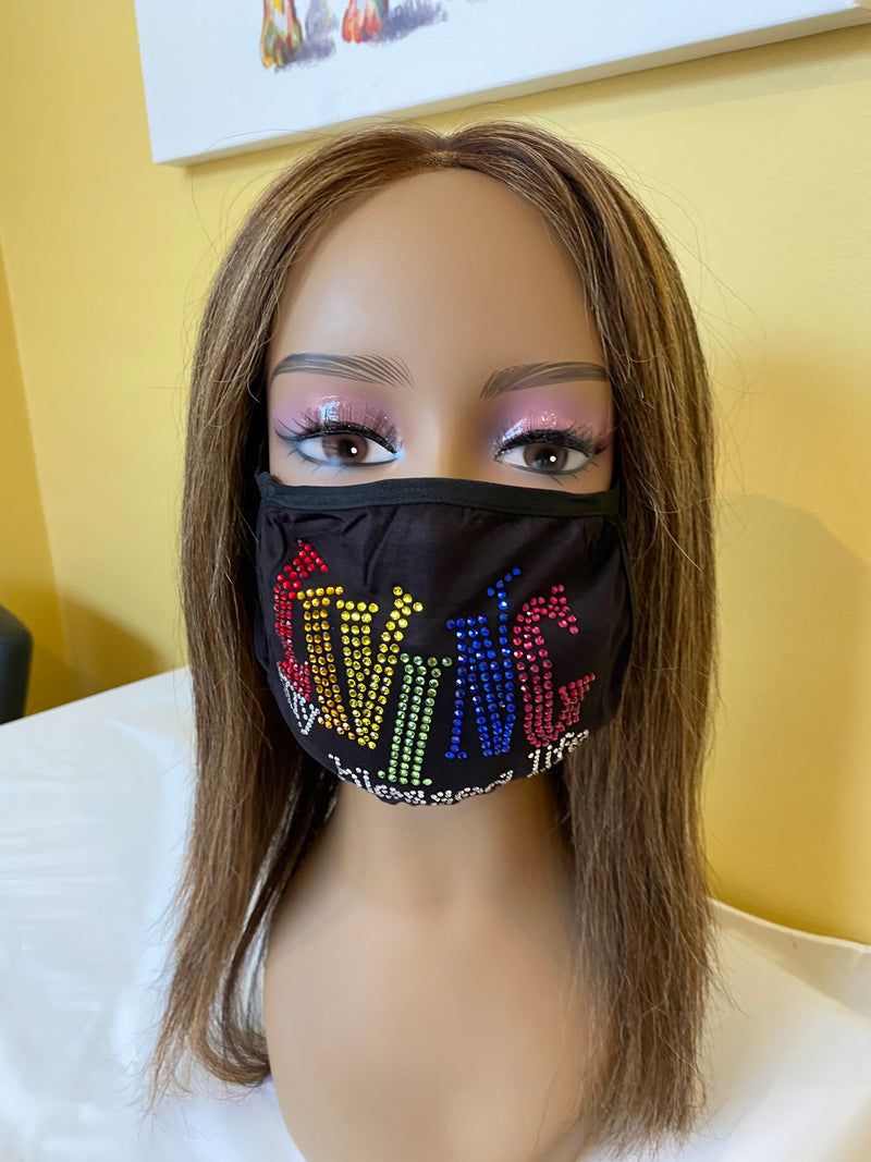 Living My Blessed Life Rhinestone Bling Face Mask Rainbow | Simply For Us