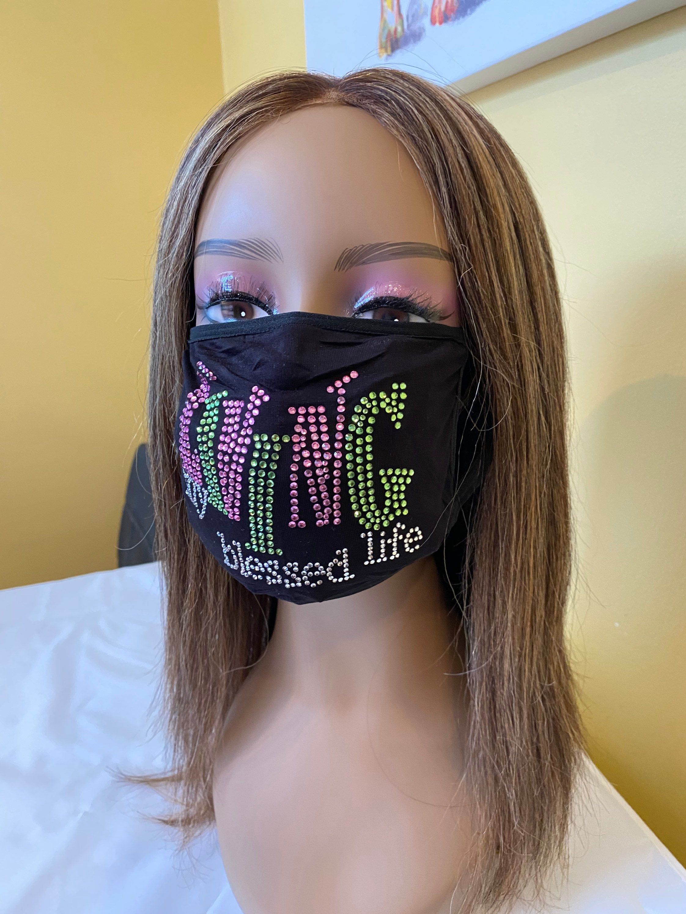 Living My Blessed Life Rhinestone Bling Face Mask Pink