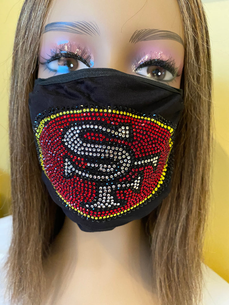 San Francisco 49ers Bling Face Mask Front Logo