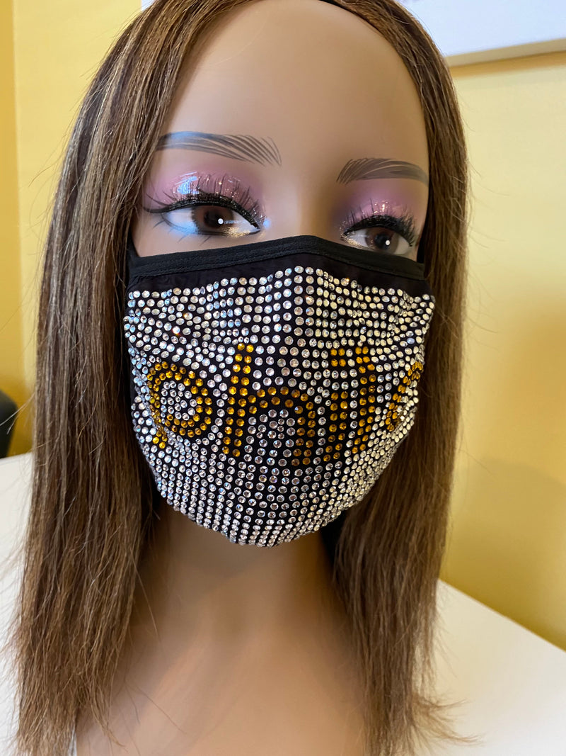 Sigma Gamma Rho Philo Affiliate Rhinestone Bling Face Mask