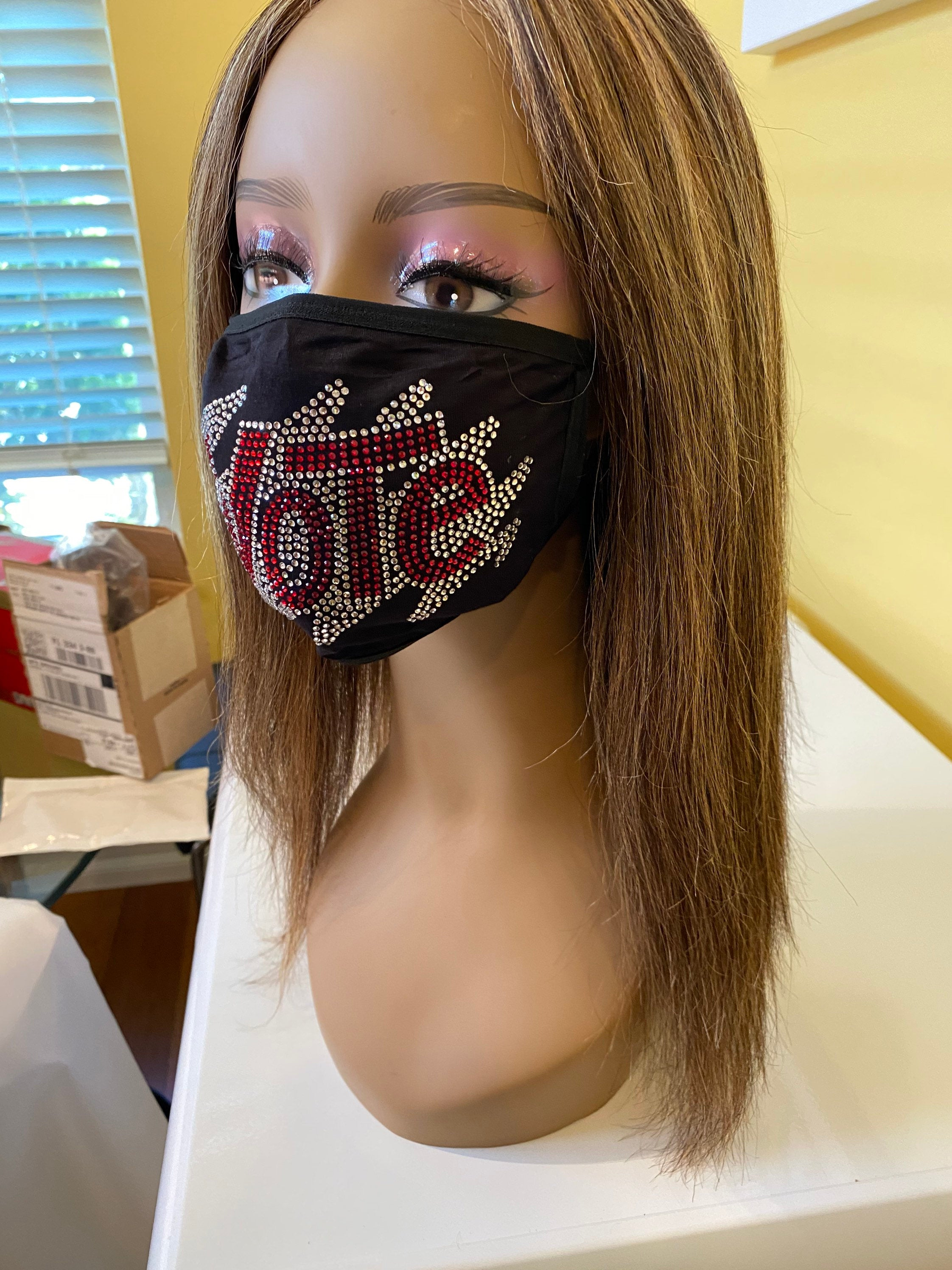 VOTE Bling Rhinestone Face Mask With Filter Pocket Red | Simply For Us