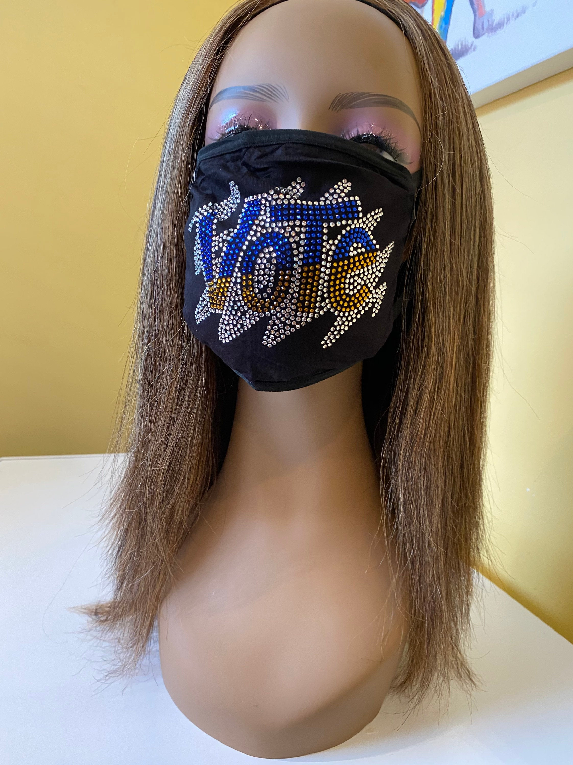 VOTE Rhinestone Bling Face Mask With Filter Pocket  Gold and Blue | Simply For Us