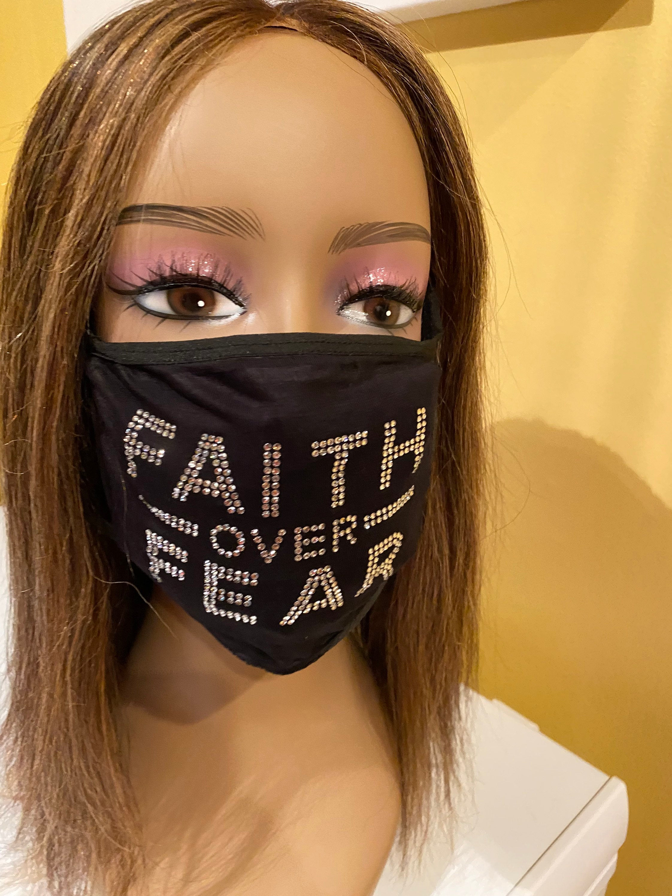 Christian Faith Over Fear Rhinestone Bling Face Mask Clear Crystal | Simply For Us