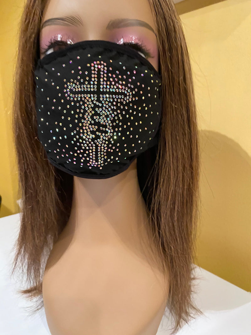 FAITH Cross AB Color Crystals Face Mask | Simply For Us