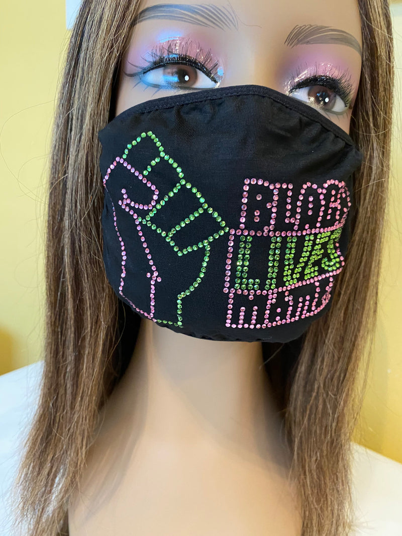 Black Lives Matter Mask Pink and Green | Simply For Us