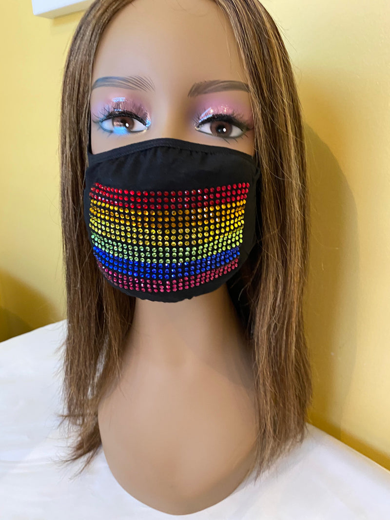 LGBTQ Gay Pride Flag Bling Face Mask | Simply For Us