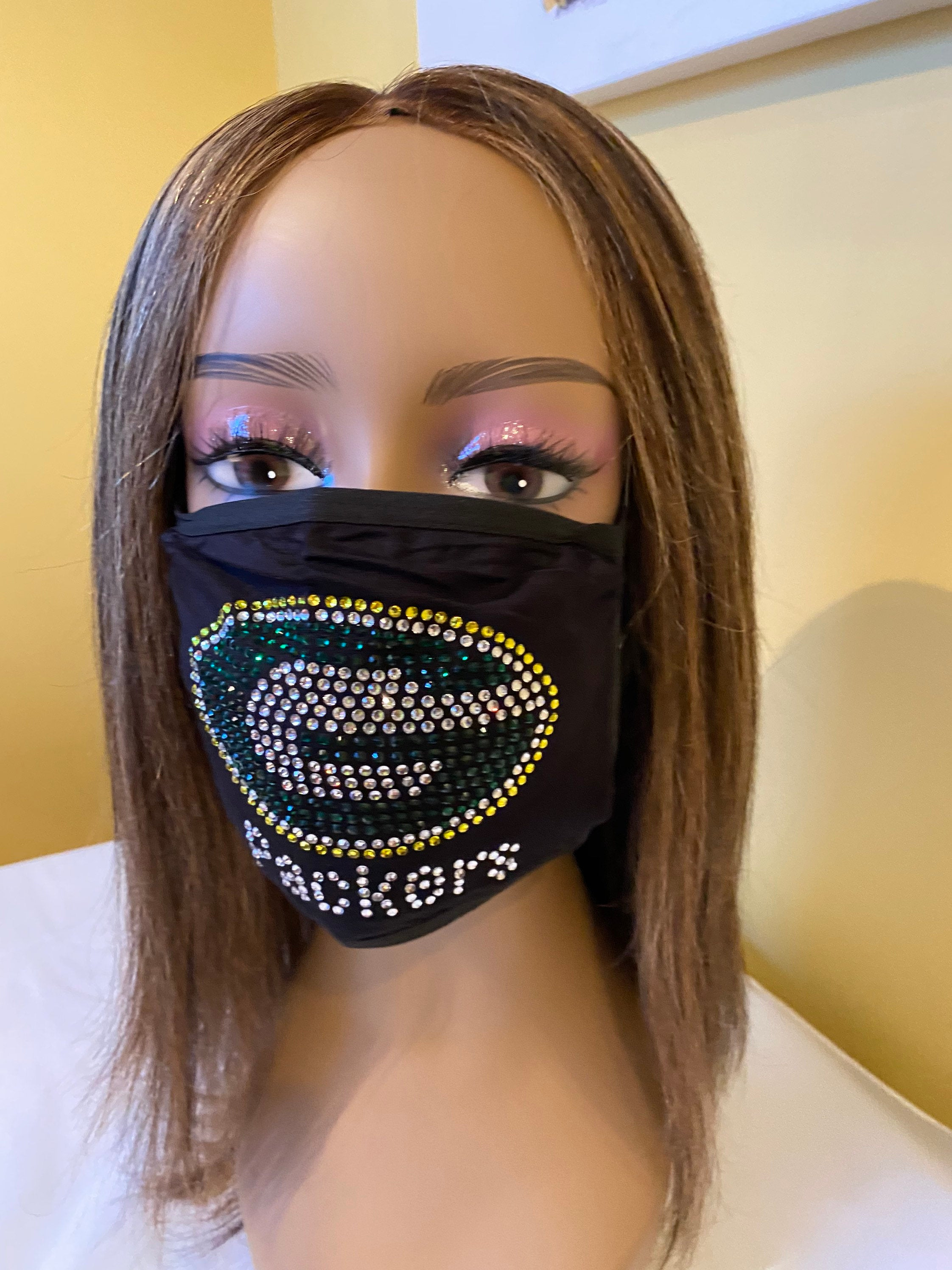 Green Bay Packers Bling Face Mask Front Logo | Simply For Us