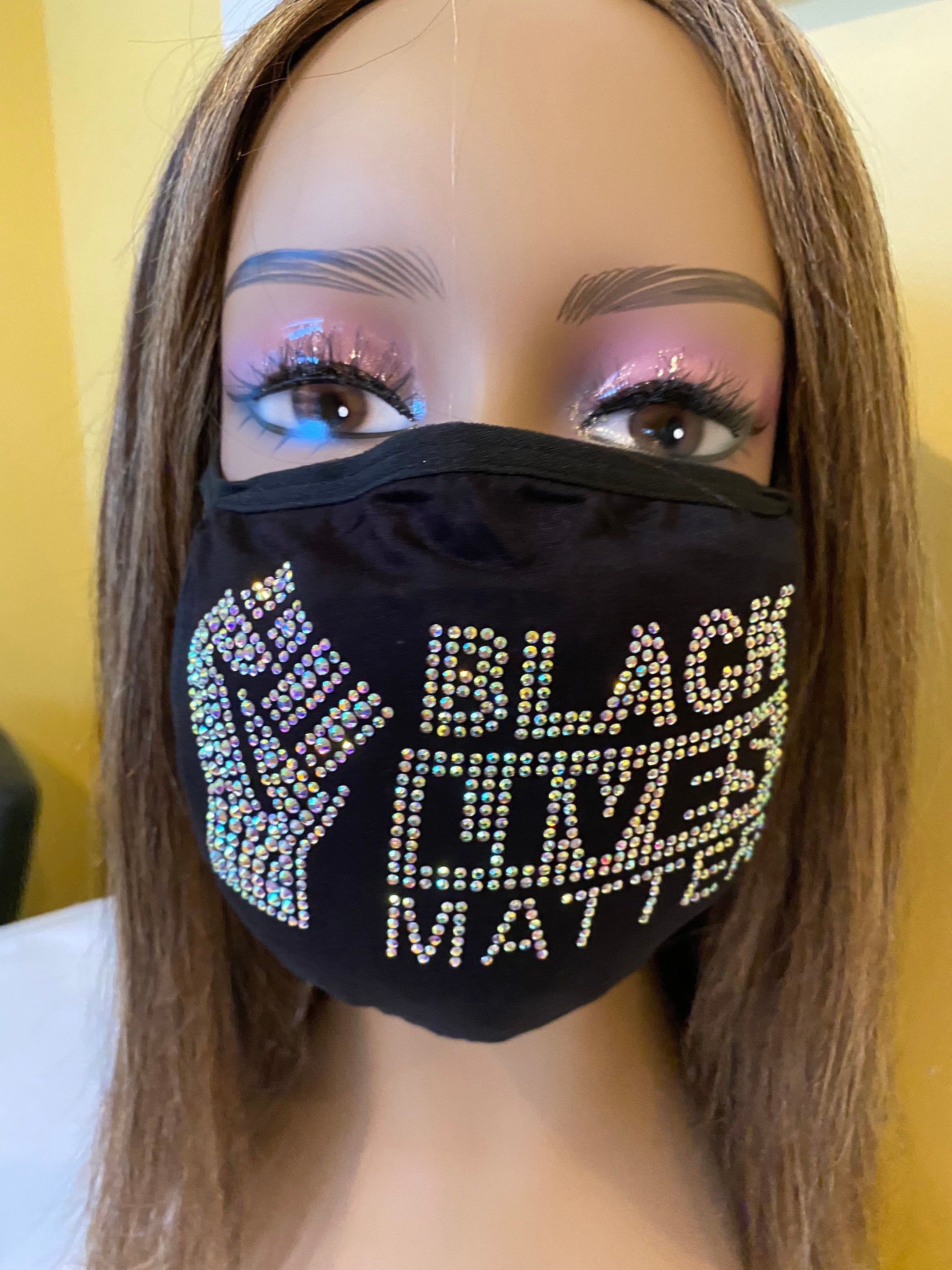 Black Lives Matter Mask with Fist AB Color Crystals | Simply For Us