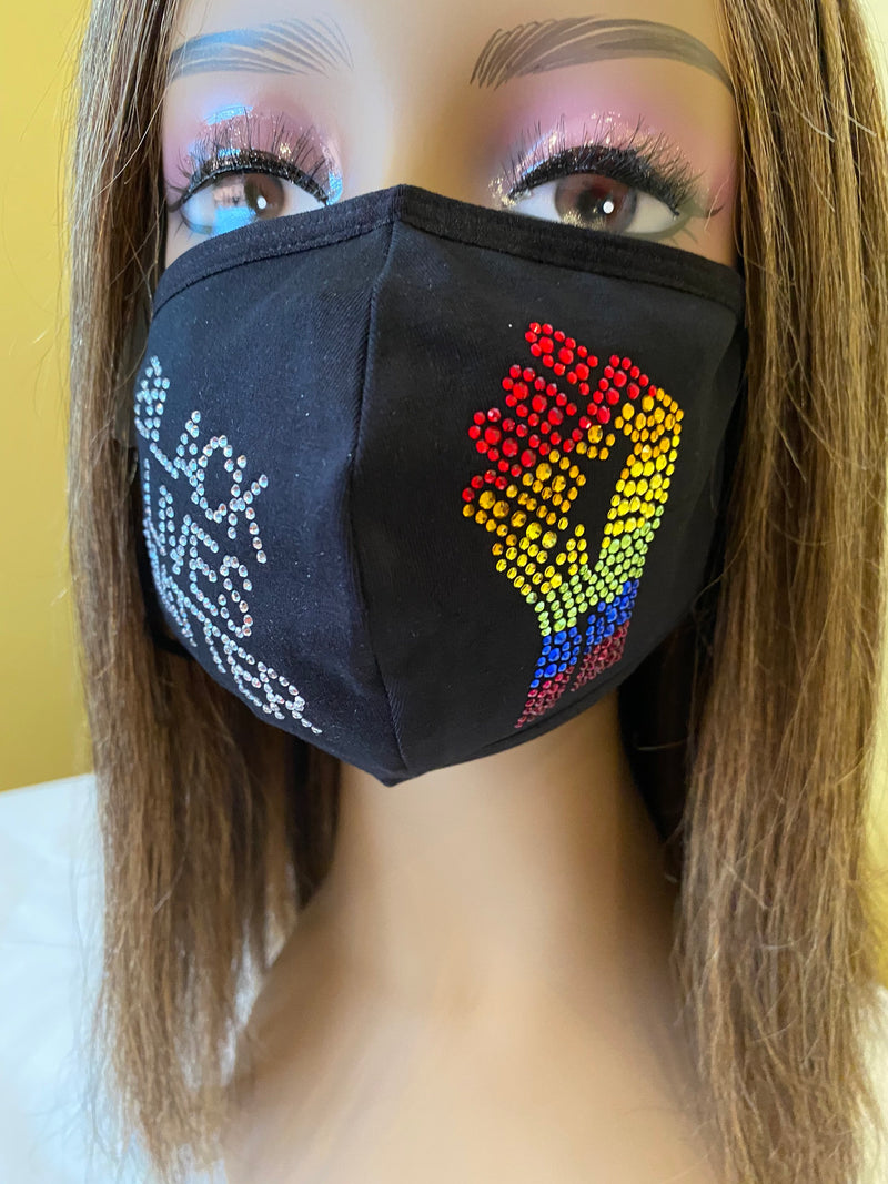 LGBTQ Gay Pride Rainbow Black Lives Matter Bling Mask | Simply For Us