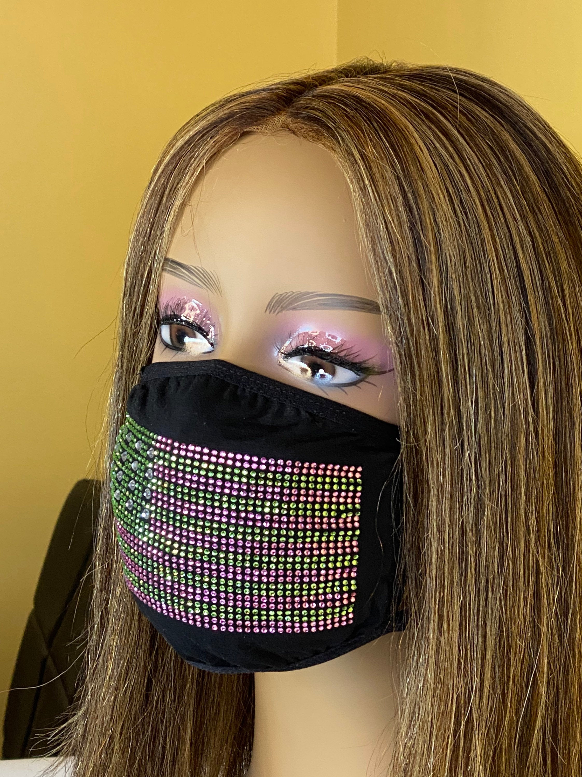 Kamala Harris Flag Face Mask, Pink and Green | Simply For Us