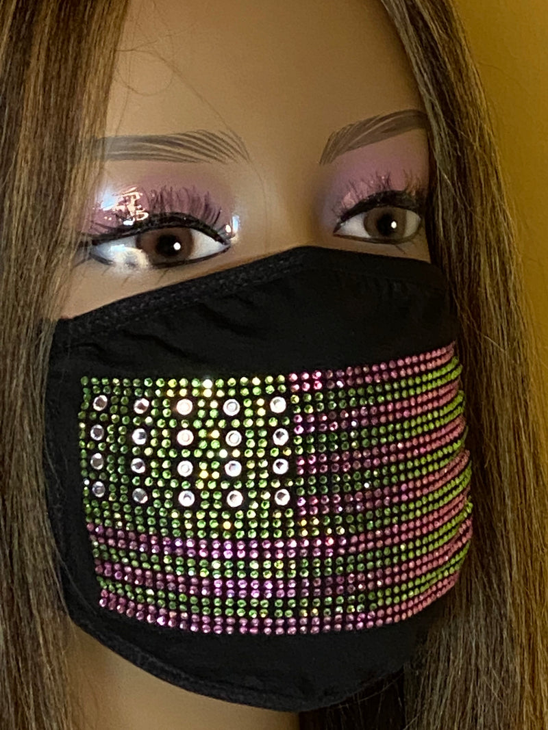 Alpha Kappa Alpha Flag Face Mask, Pink and Green