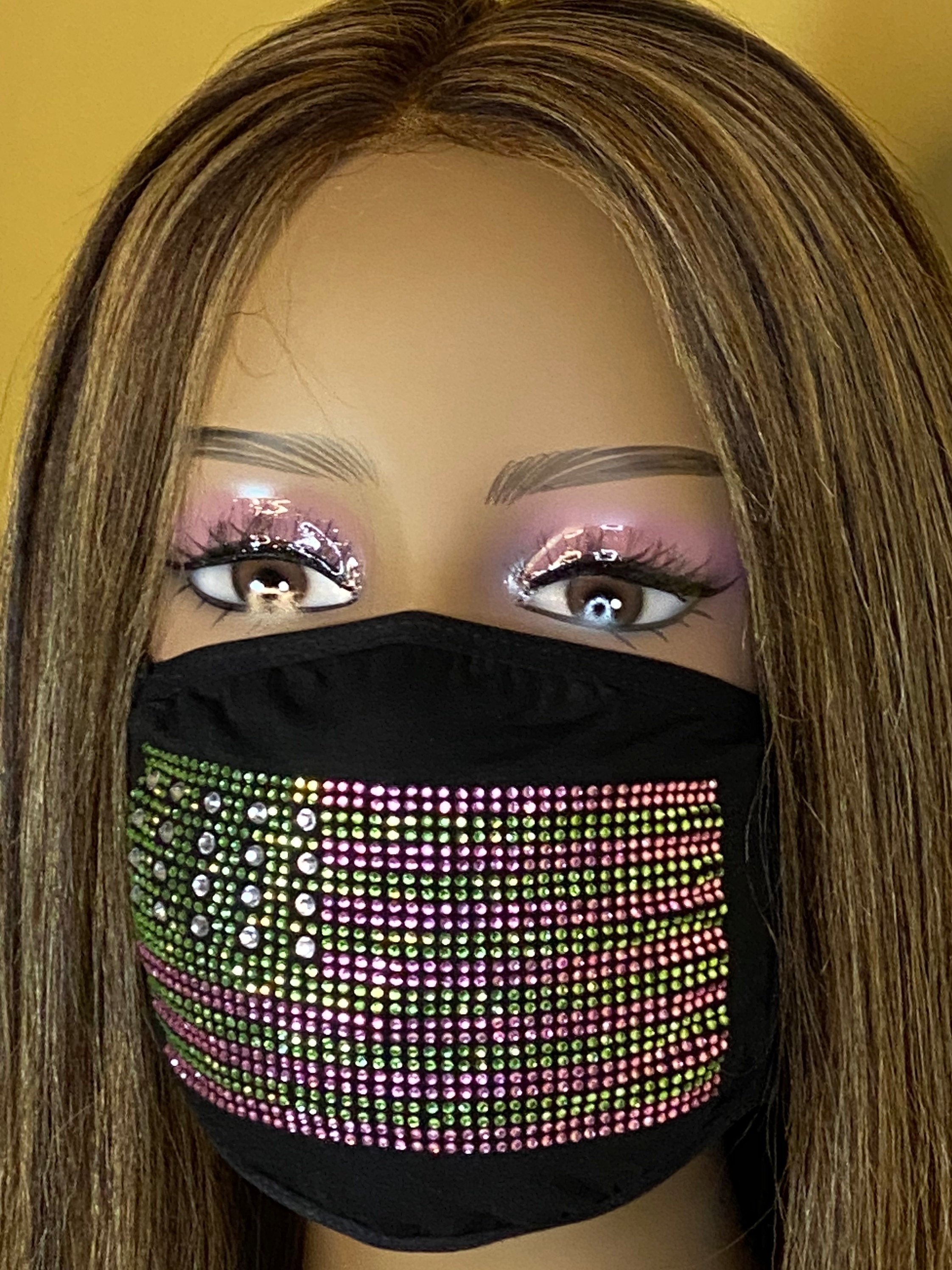 Kamala Harris Flag Face Mask, Pink and Green