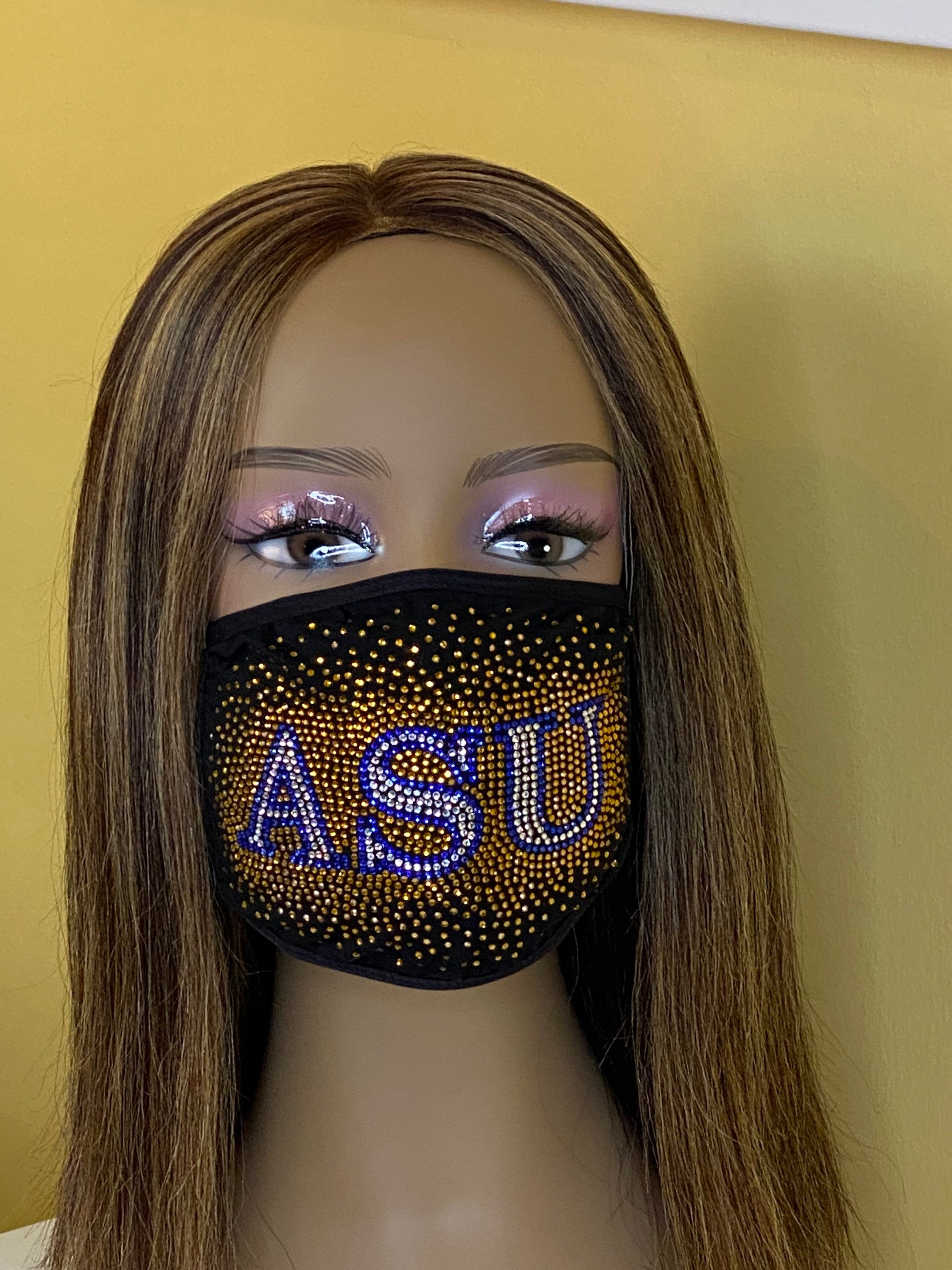 Albany State University Bling Face Mask with Filter Pocket and Filter | Simply For Us