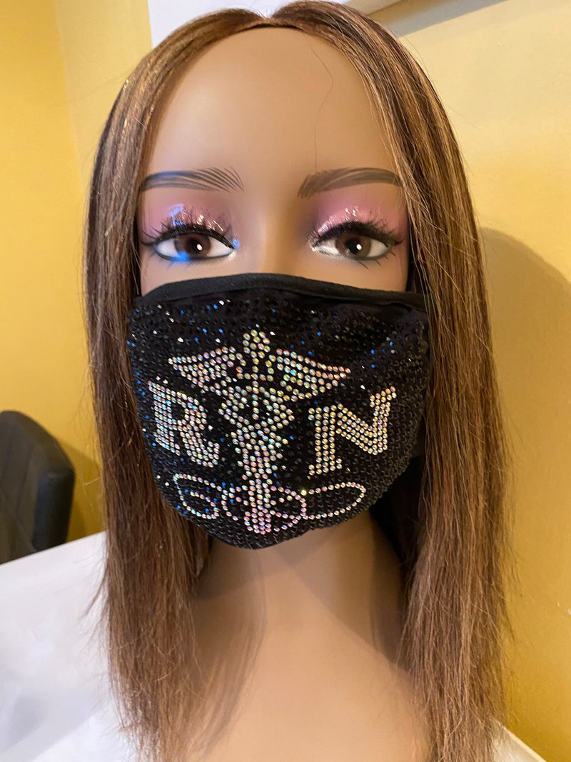 Nurse Caduceus with AB Crystals Bling Face Mask