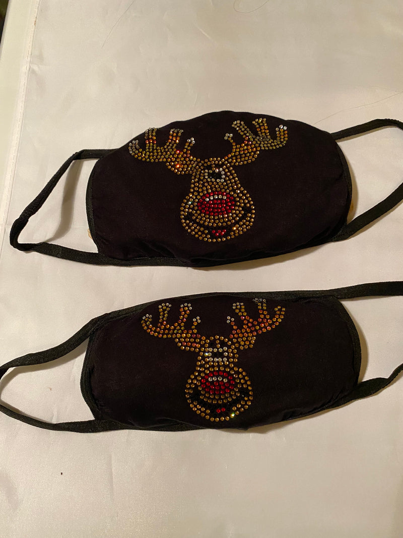 Mommy and Me Bling Face Mask Set Rudolph