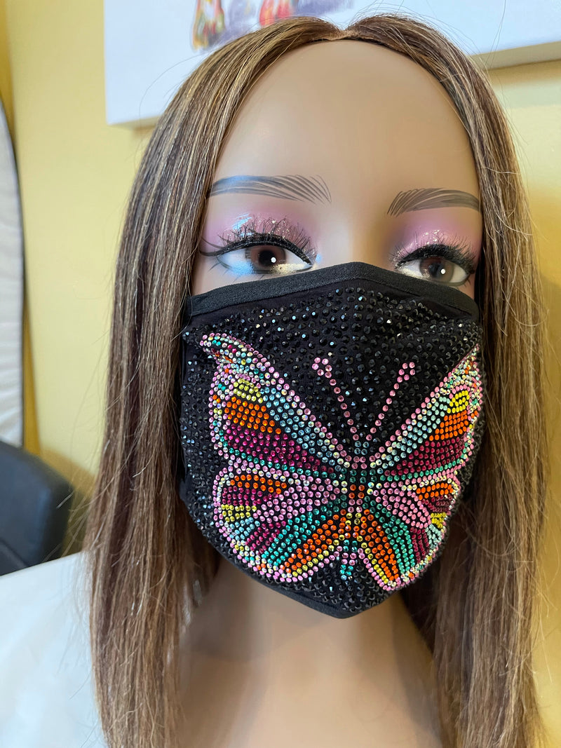 Butterfly Full Rhinestone Bling Face Mask