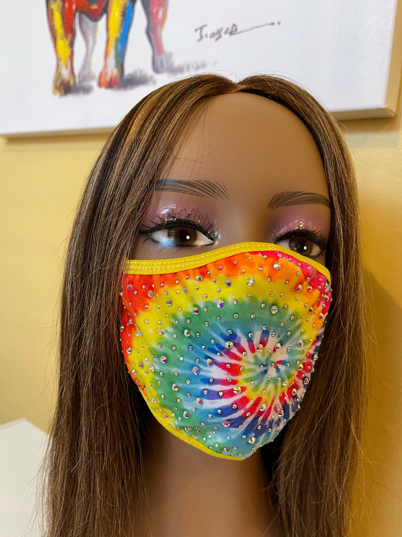 New Tie Dye AB Crystal Bling Face Mask Yellow