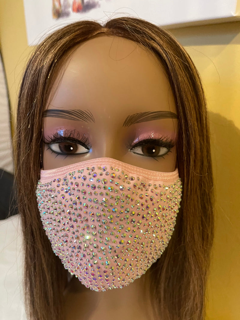 New Pink AB Crystal Bling Face Mask