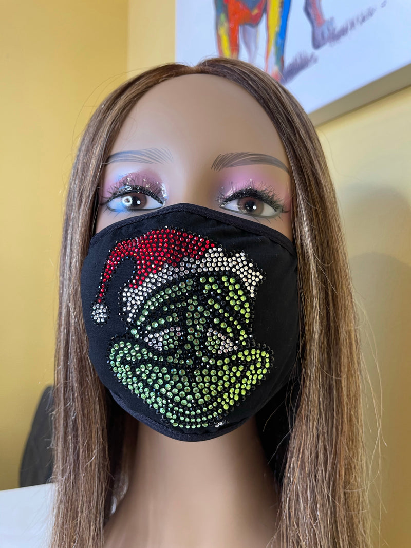 The Grinch Christmas Bling Face Mask | Simply For Us