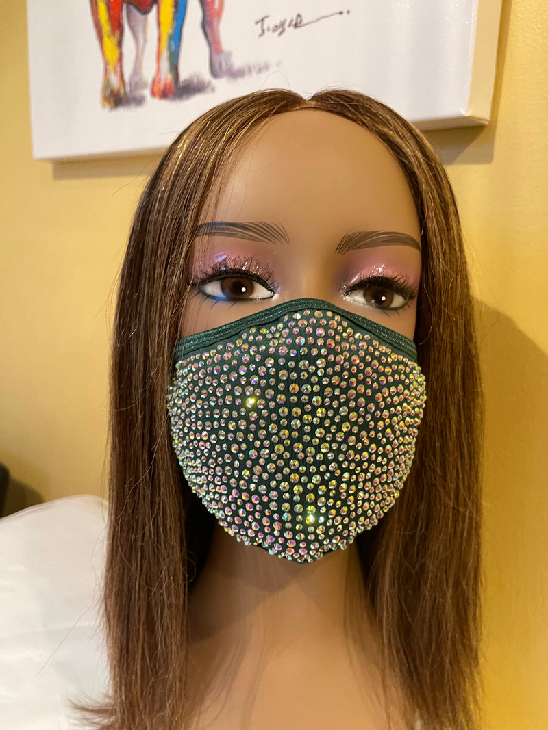 New Green AB Crystal Bling Face Mask