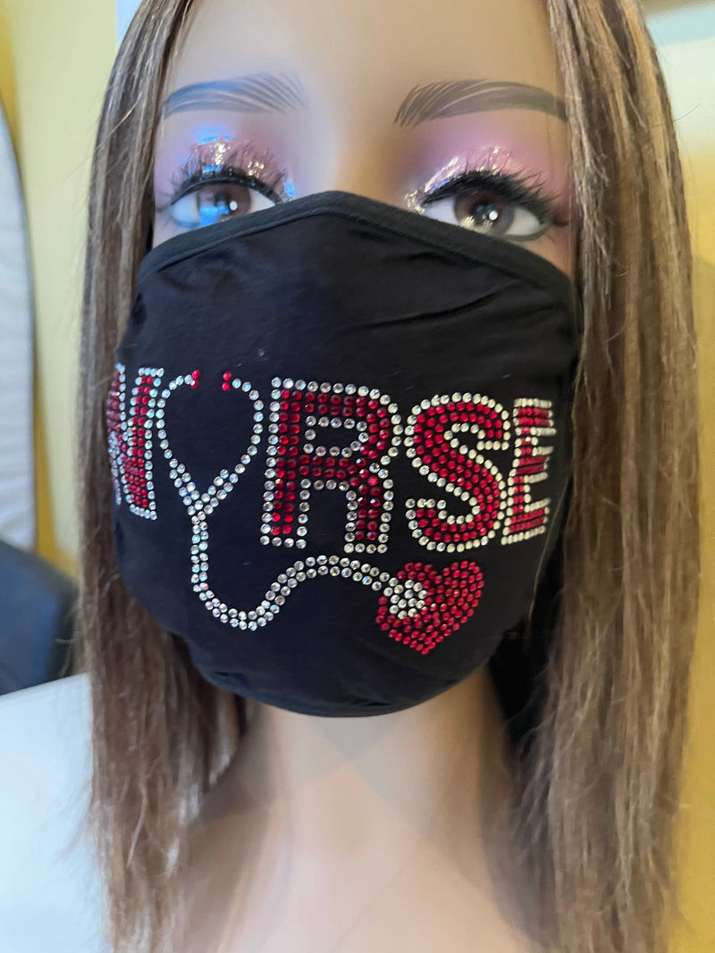 Nurse Heart Bling Face Mask