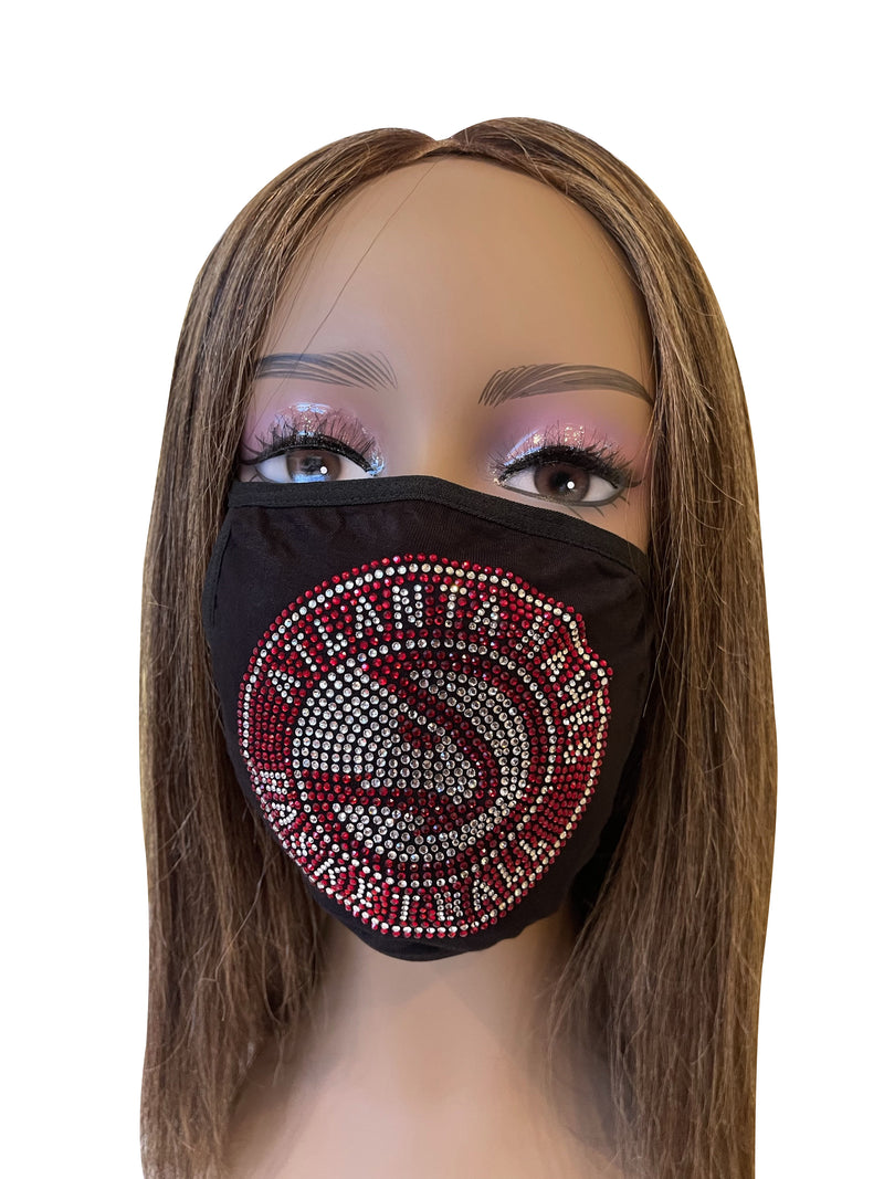 Atlanta Hawks Rhinestone Bling Face Mask Washable