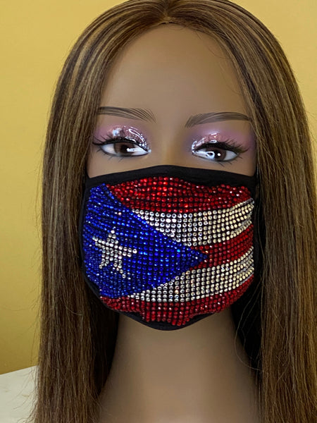 Puerto Rican Flag Bling Face Mask